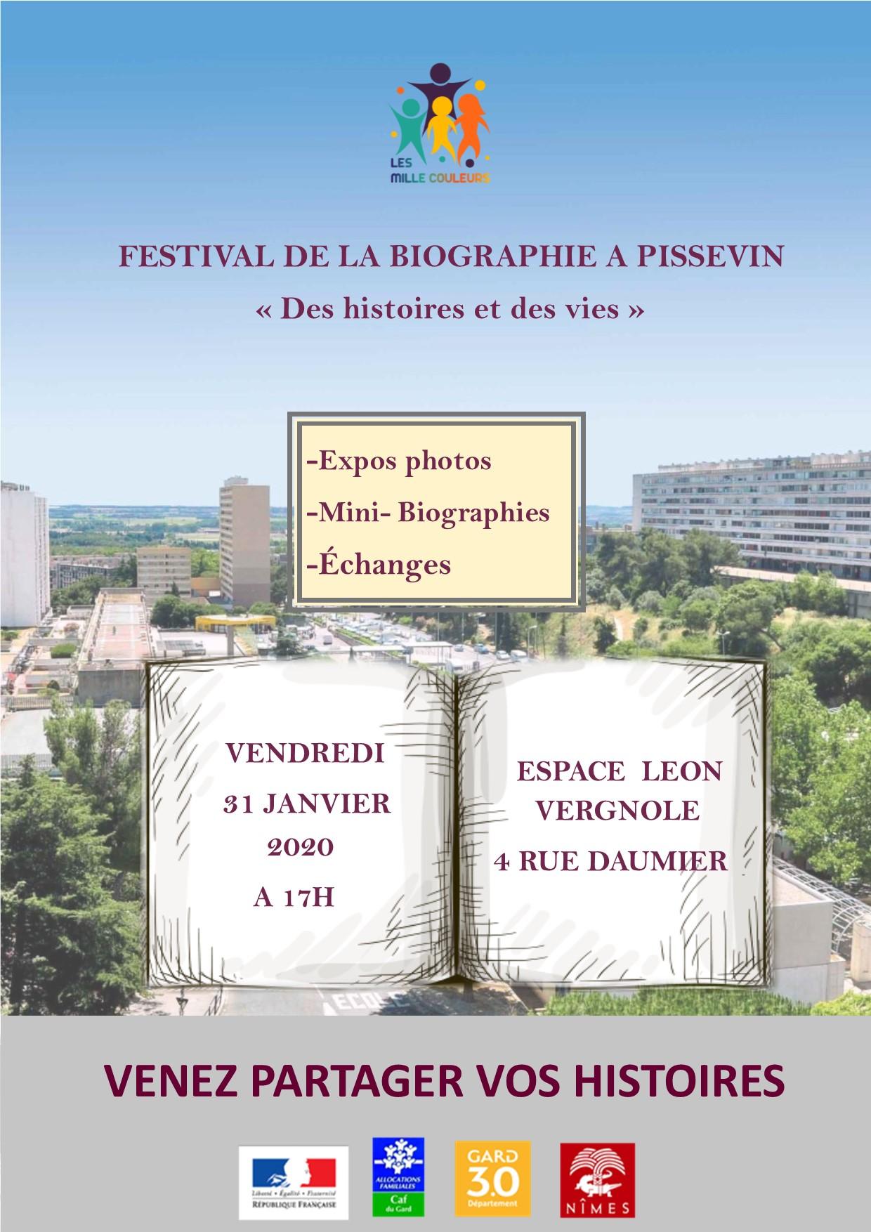«Festival de la biographie à Pissevin» Vendredi 31 janvier 2020 à 17h à L'Espace Vergnole  (4 rue Daumier-Nîmes)